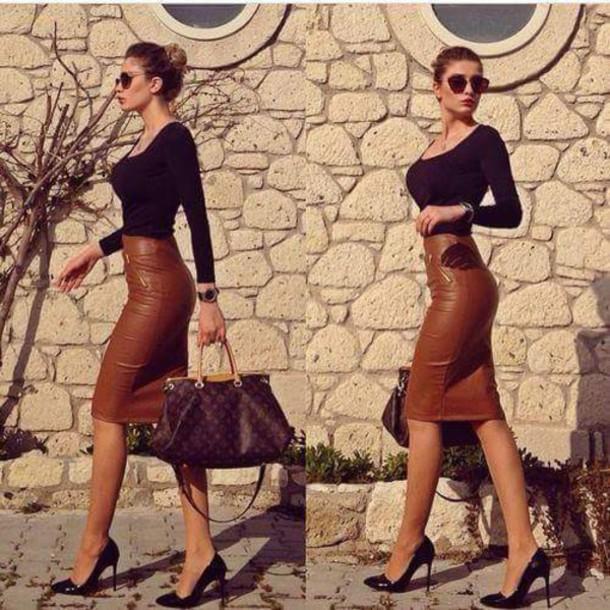 skirt marron jupe crayon taille haute