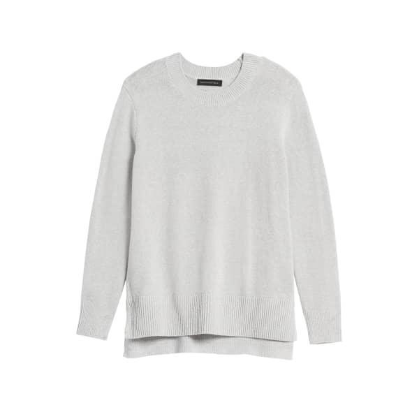 Banana Republic Women's Super Soft Cotton Hi-Low Hem Sweater Light Gray Regular Size XXL