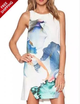 dress floral white dress
