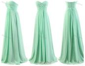 dress,teal,long dress