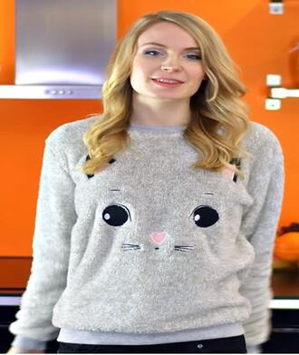 sweater cat sweater cat sweatshirt cats grey sweater
