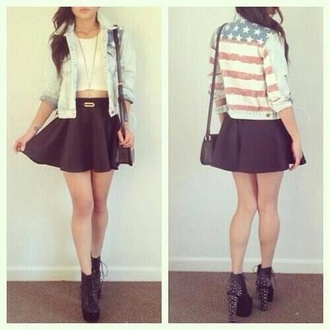 jacket usa united states america crop tops top skirt black skirt shoes black shoes high heels black high heels bag girly indie tumblr tumblr clothes united states of america white top white crop tops black bag tumblr outfit tumblr girl