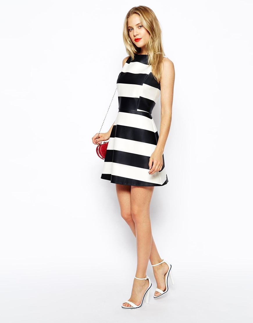 ASOS A-Line Dress in Striped Bonded Scuba at asos.com