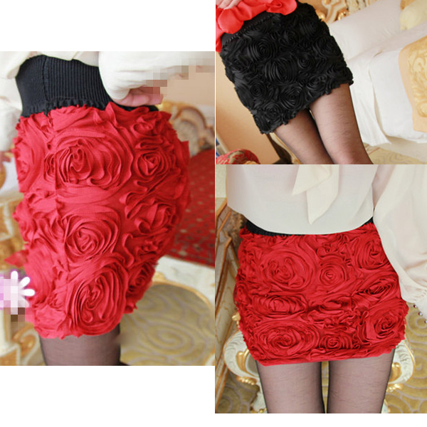 Celeb style vintage 3d rose flower mesh mini bodycon skirt elastic waistband