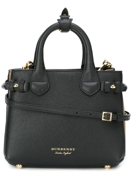 Burberry metal women bag tote bag leather cotton black