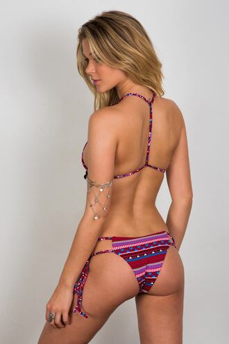 swimwear bikini bottoms cheeky print purple red soah tie sides bikiniluxe