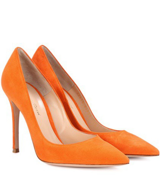 Gianvito Rossi suede pumps pumps suede orange shoes