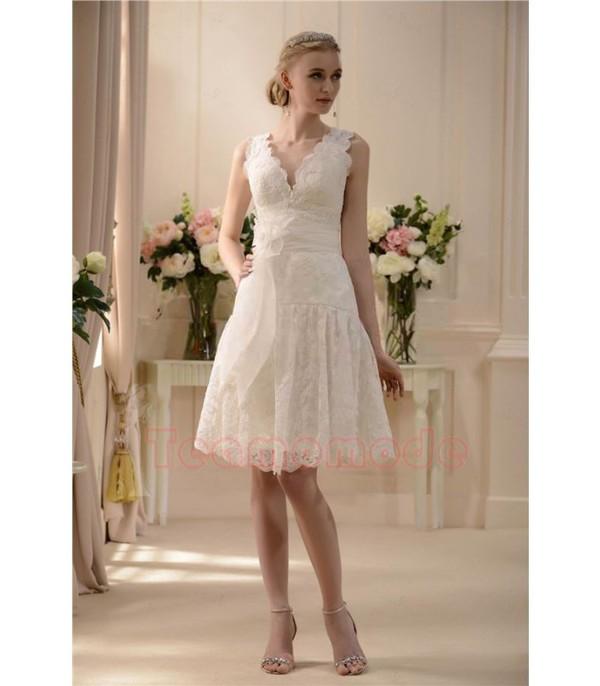 A-Linie V-Ausschnitt knielanges aus Spitze mit Blume Brautkleid