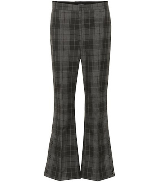 Rokh Checked cropped flared pants in grey