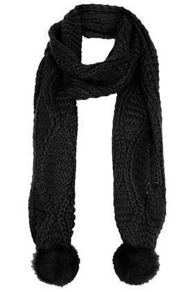 Fur Pom Cable Scarf - View All - Topshop