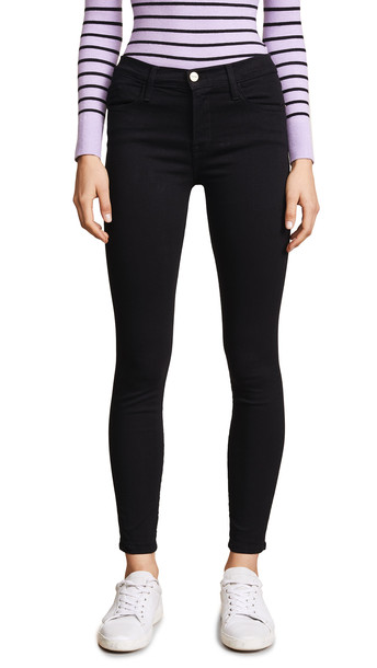 FRAME Le High Skinny Jeans in noir