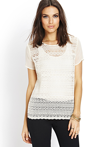 Geo Pattern Crochet Top | FOREVER21 - 2042271676