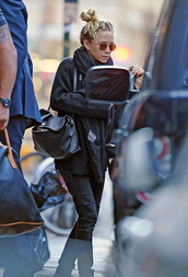 mary-kate olsen,coat,sunglasses,jeans,bag,scarf,shoes