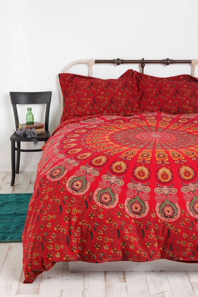 Reversible Duvet Cover Indian Mandala Block Print Cotton