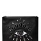 Eye embroidered leather pouch