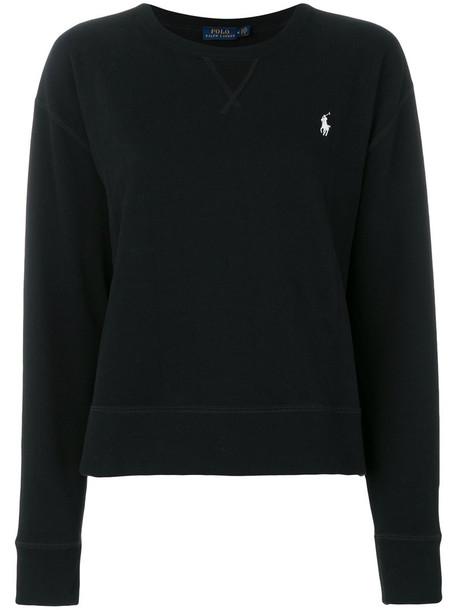 Polo Ralph Lauren - logo sweater - women - Cotton/Polyester - XS, Black, Cotton/Polyester