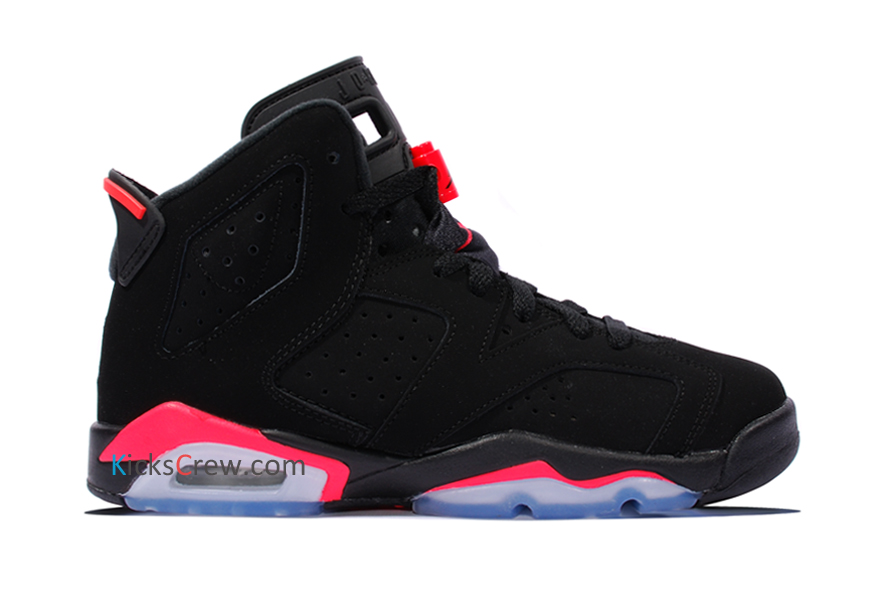 Nike air jordan 6 retro bg black infrared 384665