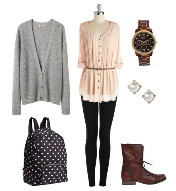 top loose clothes blouse cardigan shoes bag belt earrings watch boots backpack leggings jewels shirt light pink pink summer top spring outfits classy girly wishlist girly outfits tumblr