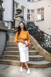 top,long sleeves,skirt,sneakers,sunglasses,midi skirt