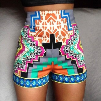 shorts aztec tribal pattern colorful cute high waisted