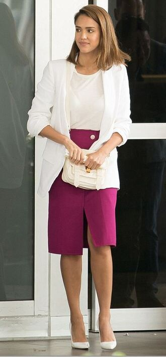 jacket blazer skirt slit skirt jessica alba pumps