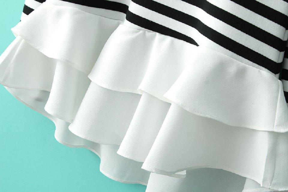 White Black Striped Contrast Cascading Ruffle T-Shirt - Sheinside.com