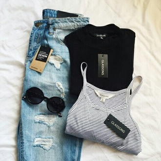 sunglasses jeans denim blue fray frayed fraying ripped holes tips hole cute tumblr teenagers girl retro vintage urban shorts round sunglasses