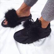 shoes,fur slides,fur nike slippers,furry nike sandals,fluffy,black,black sneakers,black sandals,flat sandals,slippers,sweater,black and white,68