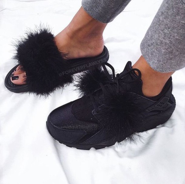 1db878634180 shoes fur slides fur nike slippers furry nike sandals fluffy black black  sneakers black sandals flat