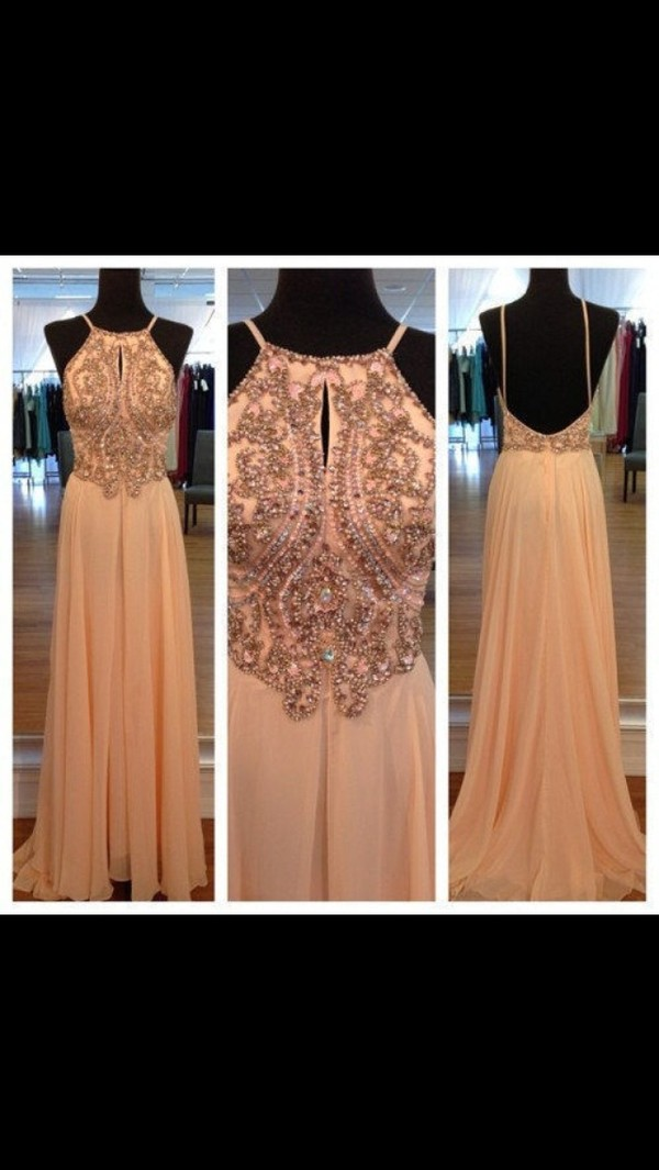 dress prom dress prom prom gown embellished dress embellished beaded sequins peach dress summer maxi dress