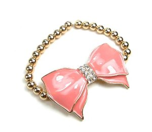 Amazon.com: Women Fashion Gold Blush Bow Bracelet with Metal Beaded Ball Stretch: Jewelry