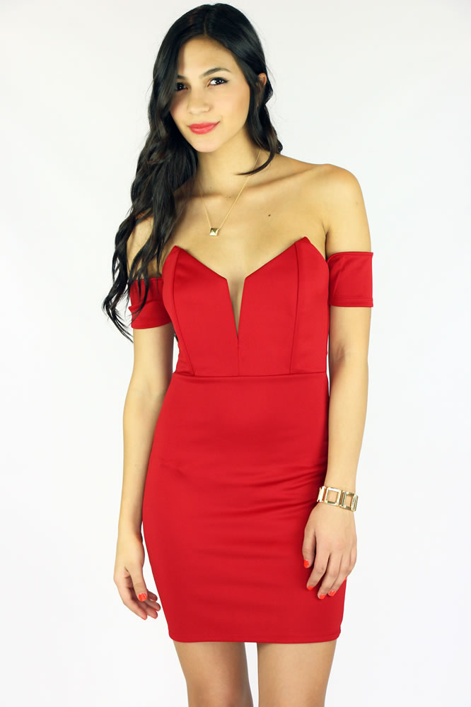 Yours Truly off shoulder dress - Red : Current Fashion Trends & Styles
