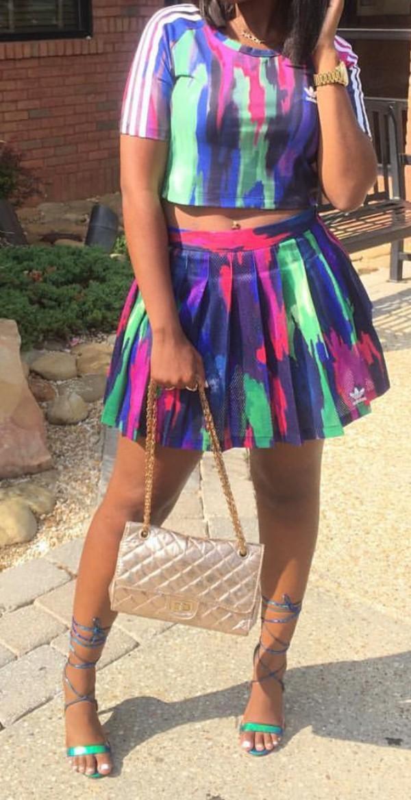 Skirt 2 Piece Skirt Set Two Piece Dress Set Adidas Tie
