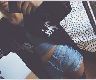 shirt baseball tee black white high waisted shorts mesh