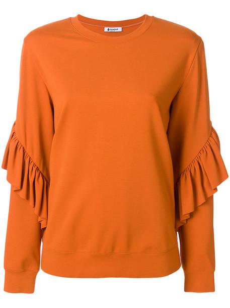 DONDUP sweatshirt ruffle women spandex yellow orange sweater