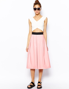 River Island | River Island Box Pleat Midi Skirt at ASOS