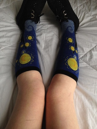 socks patterned socks art painting black blue yellow knee high socks