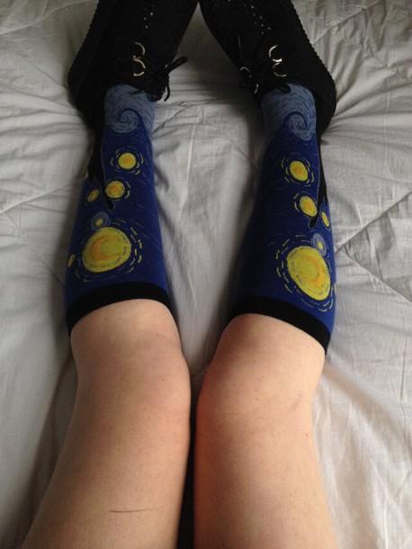 socks patterned socks art painting black blue yellow knee high socks