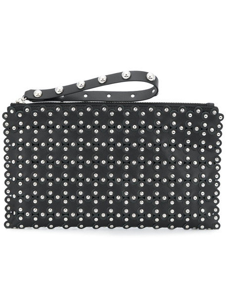 RED VALENTINO women clutch floral leather black bag