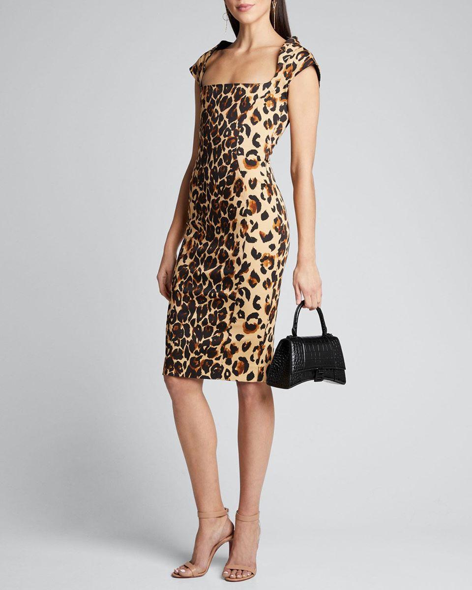 Leopard Print Square-Neck Bodycon Dress