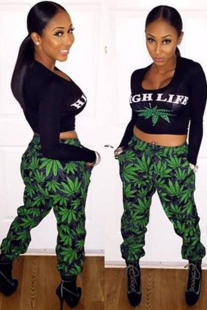 pants marijuana shirt jumpsuit high life set
