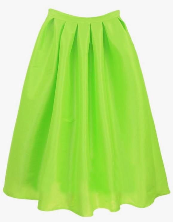 Bright Green Flare Pleated Long Skirt - Sheinside.com