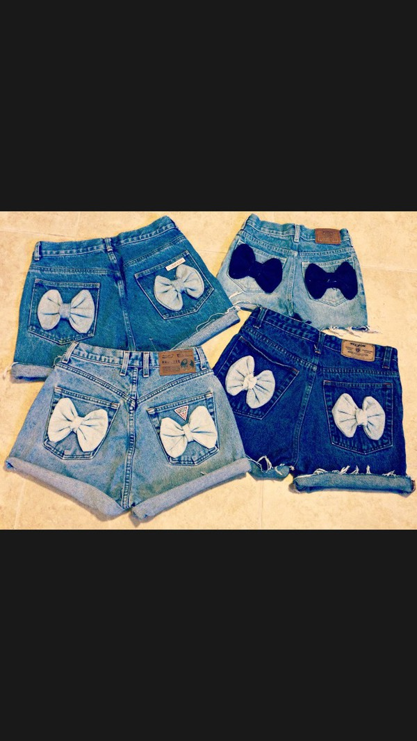 shorts denim high waisted bows