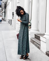 shoes,Jaggar,sandals,mules,dress,maxi dress,grey dress,long sleeves,long sleeve dress,blue dress,black sandals,bag
