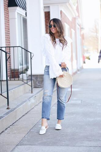 fashionably kay blogger top shoes sunglasses jewels bag round bag loafers bell sleeves spring outfits