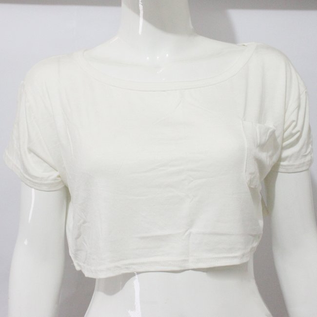 Women's Fashion Crop Top Pocket Stretch Crop Vest Smocktee Tops Shirts 7 Colors | eBay