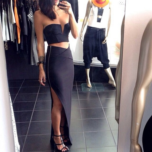 skirt maxi skirt dress black black skirt zipper slit skirt little black dress crop tops boobtube blouse top, dress, shirt, skirt, maxi skirt, black, crop, shoes tight long skirt black, slit, zip, long shirt