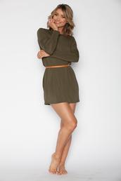 dress,bikini luxe,olive green,tunic,long sleeve dress,tunic dress,flowy,flowy dress