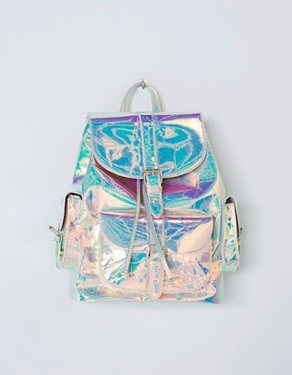 bag silver holographic iridescent metallic backpack holographic bag