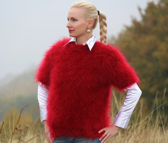 Hand knitted mohair short sleeved sweater in red by by supertanya